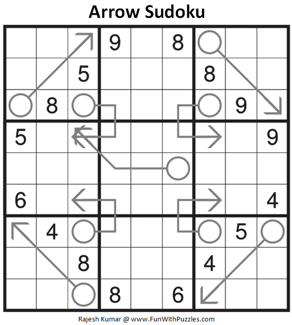 Arrow Sudoku Puzzle (Fun With Sudoku #373)