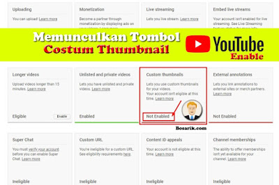 cara memunculkan tombol costum thumbnail youtube