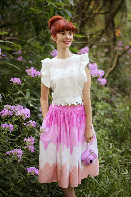 Angel Amour Crochet Top from ChicWish Collectif Ice Cream Skirt