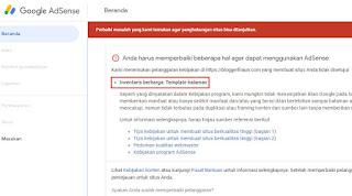 Screenshot dashboard Google AdSense yang belum diapprove karena ada masalah pada template blog