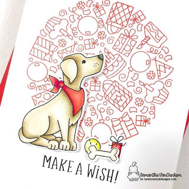 Make a Wish Dog Birthday Card by Samantha VanArnhem | Fetching Friendship Stamp Set and Birthday Roundabout Stamp Set by Newton's Nook Designs #newtonsnook #handmade