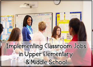 Having classroom jobs in the grade 4, 5, 6, and 7 science classroom