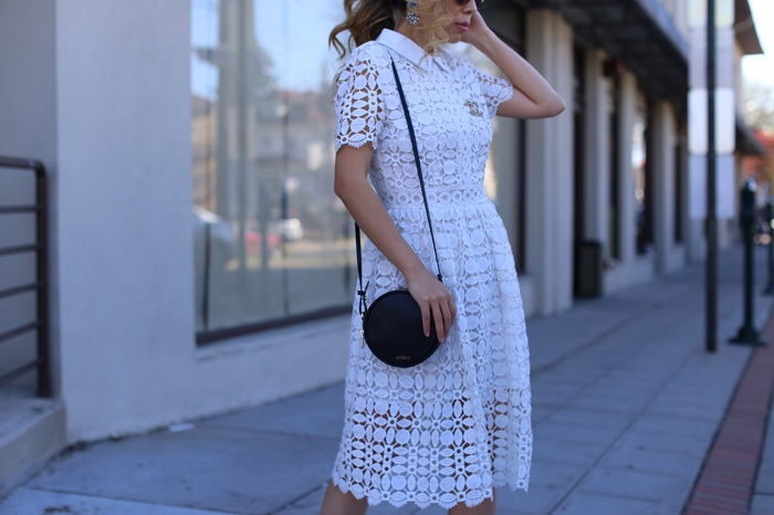 Chicwish Splendid Crochet White Dress, le specs sunglasses, furla bag, vans slip on, chanel brooch, baublebar earrings, spring outfit ideas