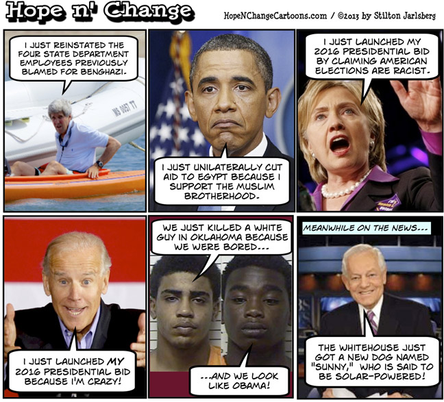obama, obama jokes, kerry, benghazi, muslim brotherhoose, egypt, hillary, biden, sunny, dog, conservative, tea party, stilton jarlsberg, hope n' change, hope and change, solar