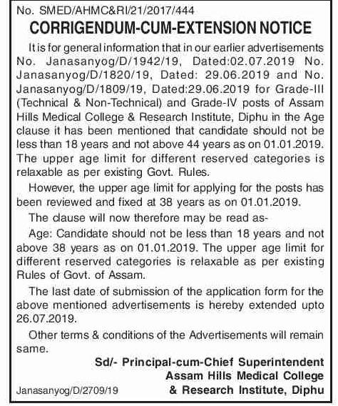 Diphu Medical College Recruitment 2019