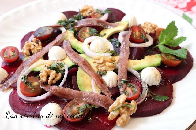 Ensalada de remolacha con vinagreta de hierbabuena