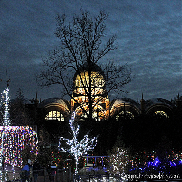 The elephant house at the Cincinnati Zoo during Festival of Lights