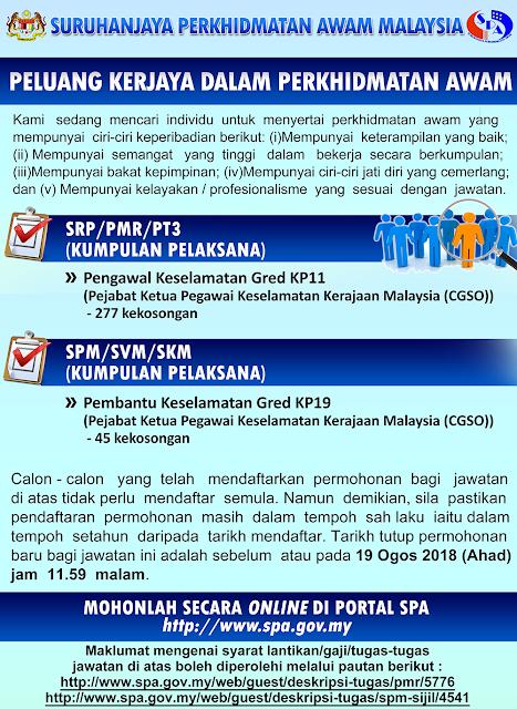 JAWATAN KOSONG PEJABAT KETUA PEGAWAI KESELAMATAN KERAJAAN MALAYSIA (CGSO) - MINIMA PMR