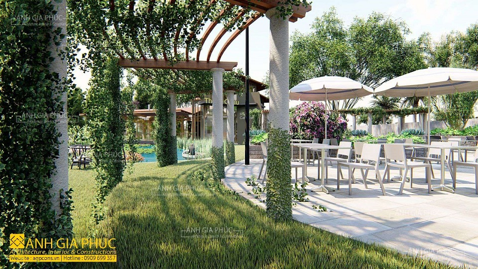 cafe sân vườn nhiều cây xanh
