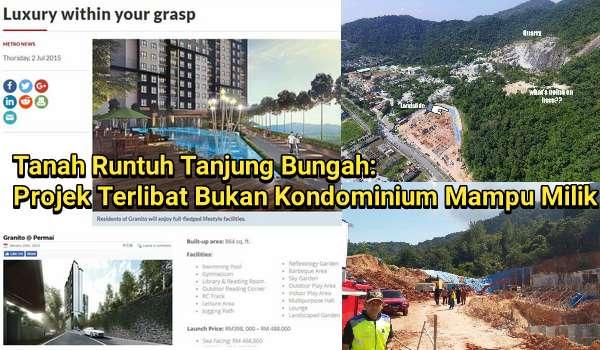 Tanah Runtuh Tanjung Bungah: Projek Terlibat Bukan Kondominium Mampu Milik