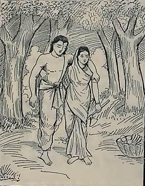 यम सत्यवान की आत्मा को मुक्त करता है और सावित्री अपने पति के साथ लौटती है। (सौजन्य: गीता प्रेस द्वारा महाभारत)