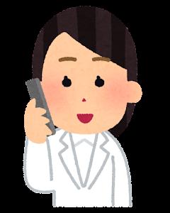 電話を掛ける医師のイラスト(女性・笑顔)