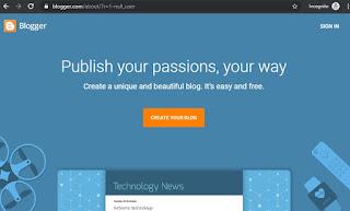 langkah pertama dari cara membuat blog gratis, adalah dengan masuk ke www.blogger.com