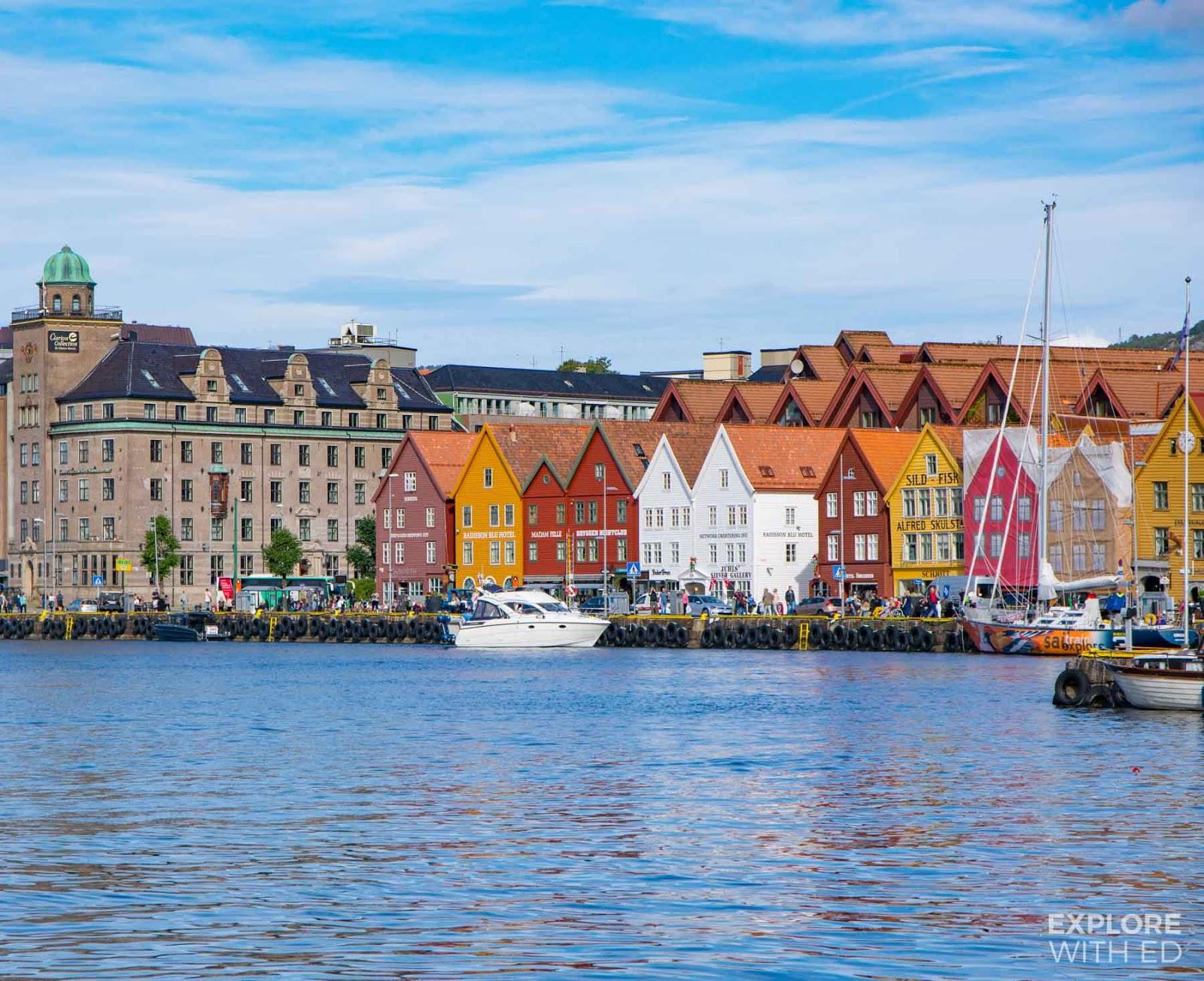 Wharf in Bergen with the UNESCO Bryggen