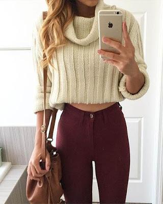 Outfit elegante de invierno femenino