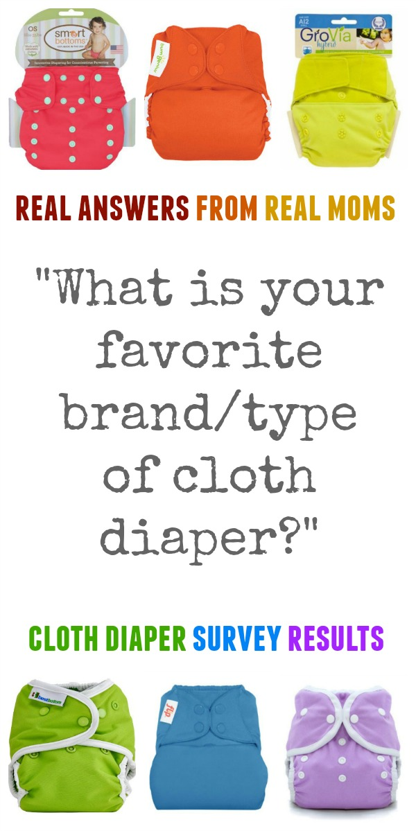 "Real answers from real moms. Cloth diaper survey results for the question, ""What is your favorite type or brand of cloth diaper?"""