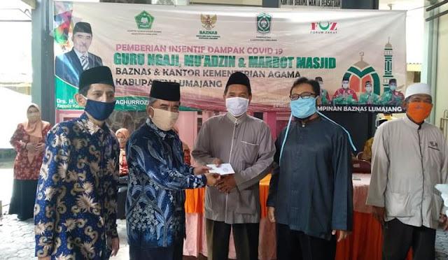 Baznas menyalurkan insentif bagi guru ngaji, muazin, dan marbot masjid