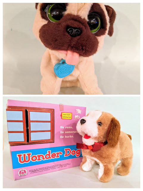 A photo collage of two robot dog toys