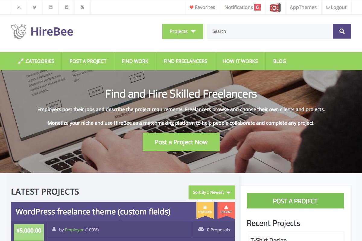 HireBee v1.3.6 – AppThemes WordPress Freelancer Theme.