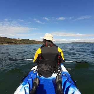 View from the back of a tandem kayak - blue skies, open sea, a sliver of land.