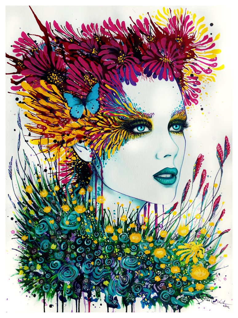 07-Lady-Bouquet-Svenja-Jödicke-PixieCold-Mixed-Media-Painting-and-Coloring-www-designstack-co