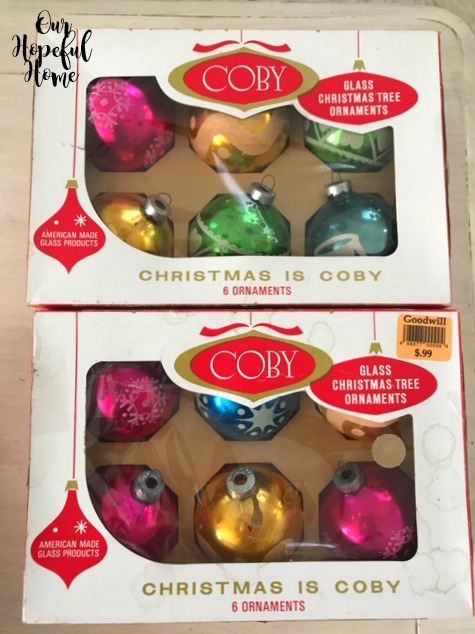 Colby glass ball Christmas tree ornaments box