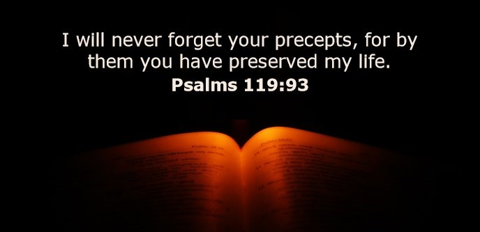 I will never forget your precepts, for by them you have preserved my life.