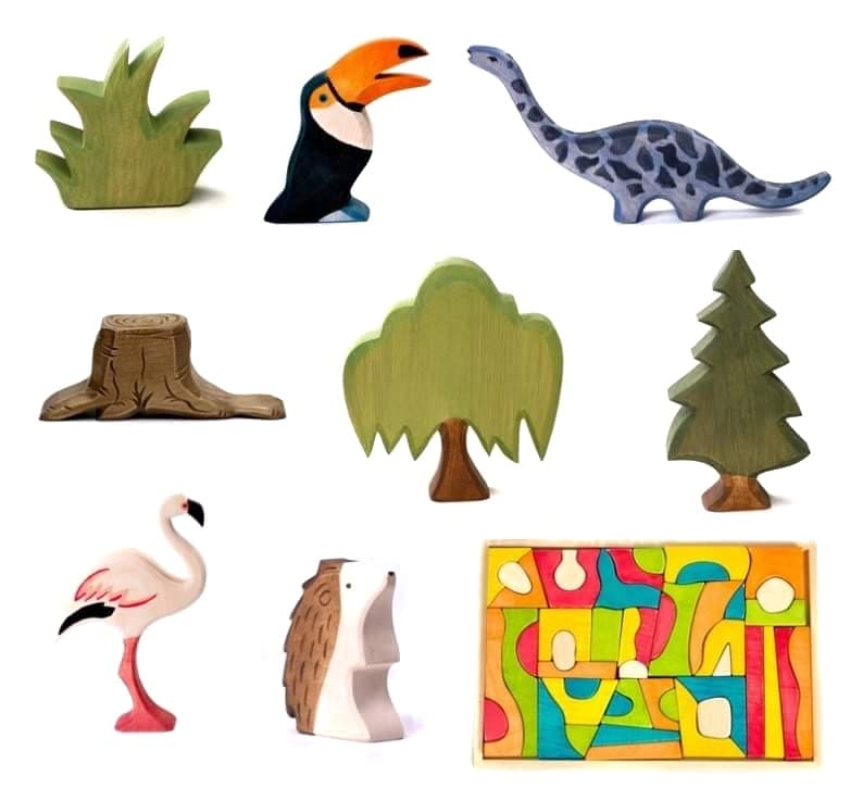 dadaka craft wooden animals, trees and blocks