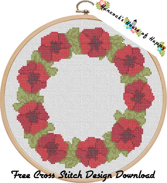 Free Poppy Cross Stitch Pattern. Remembrance Day Poppy Wreath Cross Stitch Design.