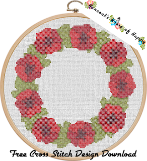 free cross stitch poppy wreath pattern for Remembrance Day