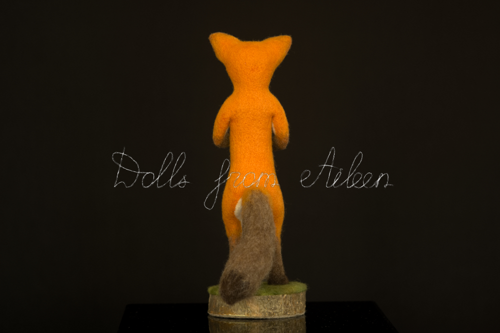 bare ooak needle felted fox sculpture, back view