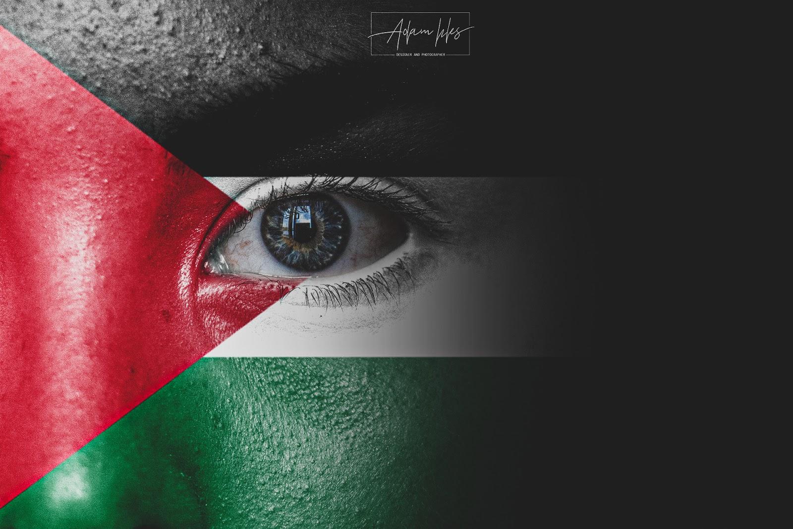 صور علم فلسطين على وجه طفل