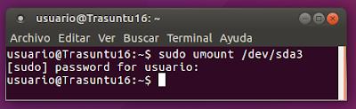 sudo umount /dev/sda3