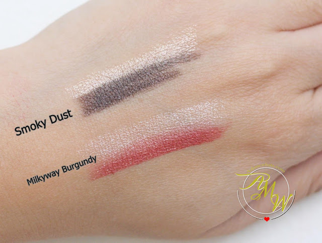 a swatch photo of Laneige Two Tone Shadow Bars Smoky Dust and Milkyway Burgundy