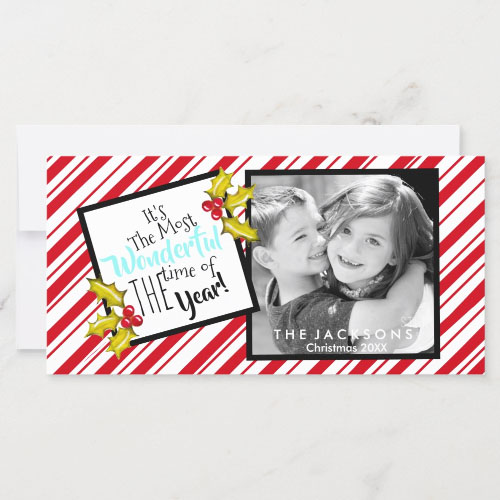 Classic Messy Peppermint Stripe and Holly Christmas Card