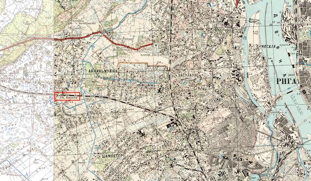 Карта Риги 1947 год. Станция Иманта и земли Золитуде