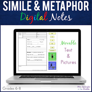 Digital Interactive notes WITH structure! Pixanotes® come in four levels of scaffolding so each student gets what he/she needs!  #teaching #middleschool #languagearts