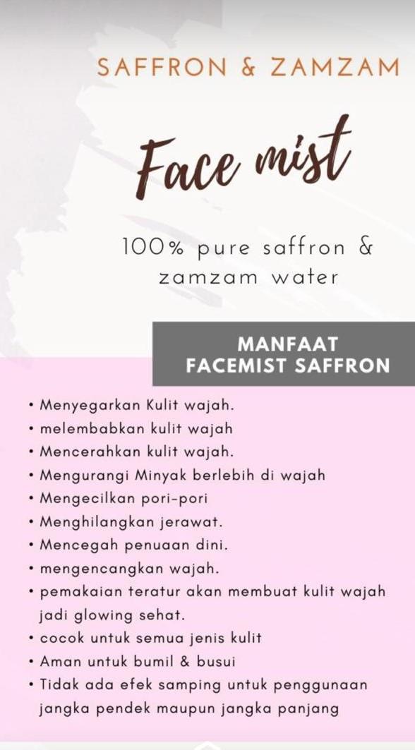 Premium Saffron Face Mist 100ml Saffron Beauty Toner 100 Original Super Negin