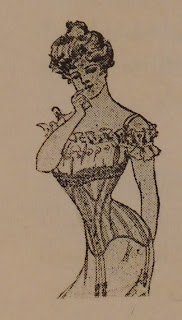 An illustration of woman in a tightly laced corset.