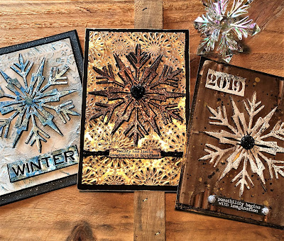Sara Emily Barker Easy Mixed Media Techniques https://sarascloset1.blogspot.com/2019/01/easy-mixed-media-techniques-with-tim.html #timholtz #sizzixalterations #iceflake #kaleidoscope3D 1