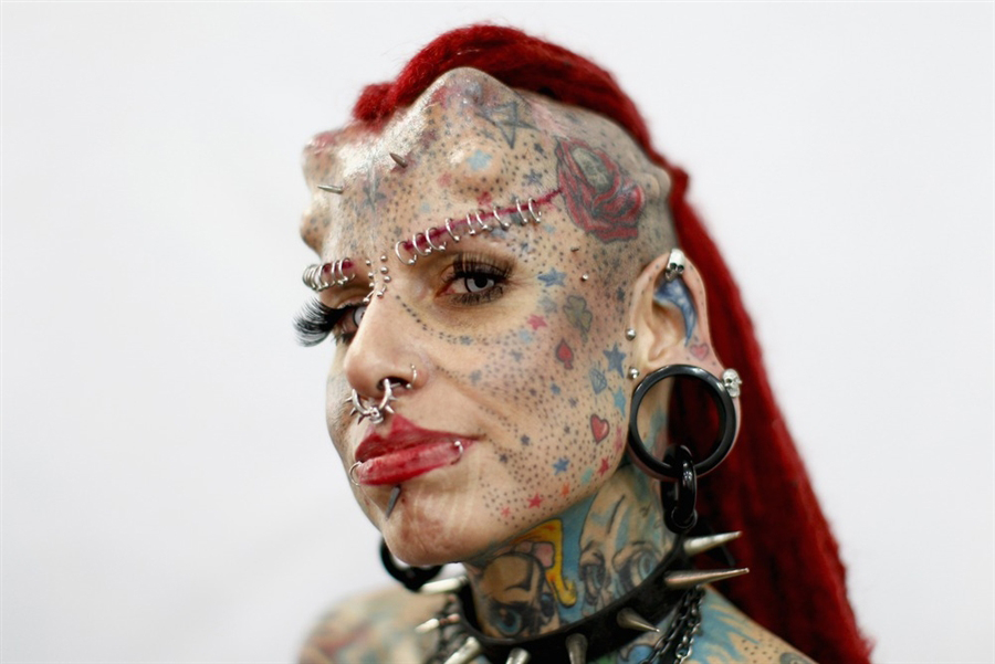 Extreme tattoos and piercings