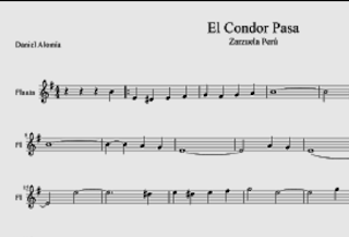 El Cóndor Pasa partitura para Flauta. Música Tradicional de Perú