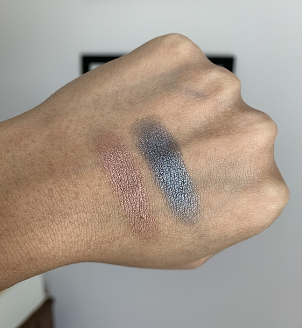 MUFE artist color eye shadows I-544 pink granite and ME-108 steel swatches on dark skin