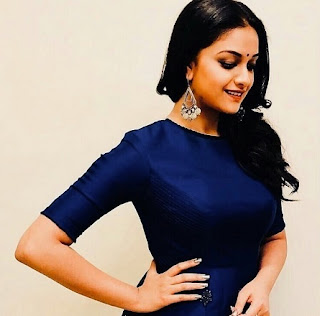 Keerthy Suresh in Blue Dress with Cute and Awesome Lovely Smile