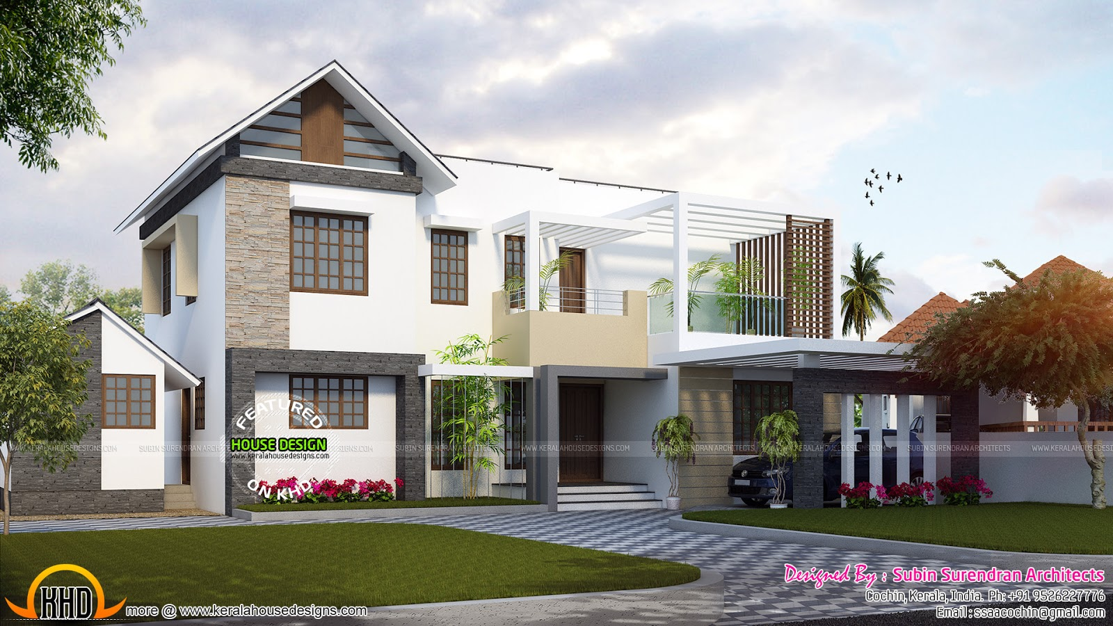 2193 Sq Ft Contemporary Mix Home Kerala Home Design And