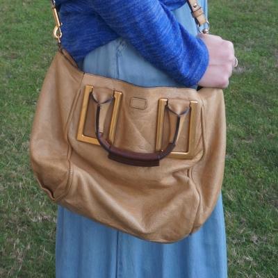 chambray maxi skirt with chloe small ethel bag in light khaki | awayfromtheblue