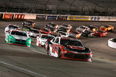 Christopher Bell (#20 Rheem Toyota)leads a pack of cars during the NXS GoBowling 250.