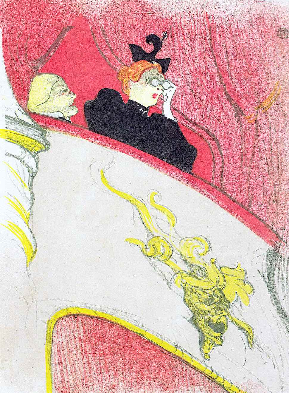 Toulouse-Lautrec, a woman in a balcony with opera glasses