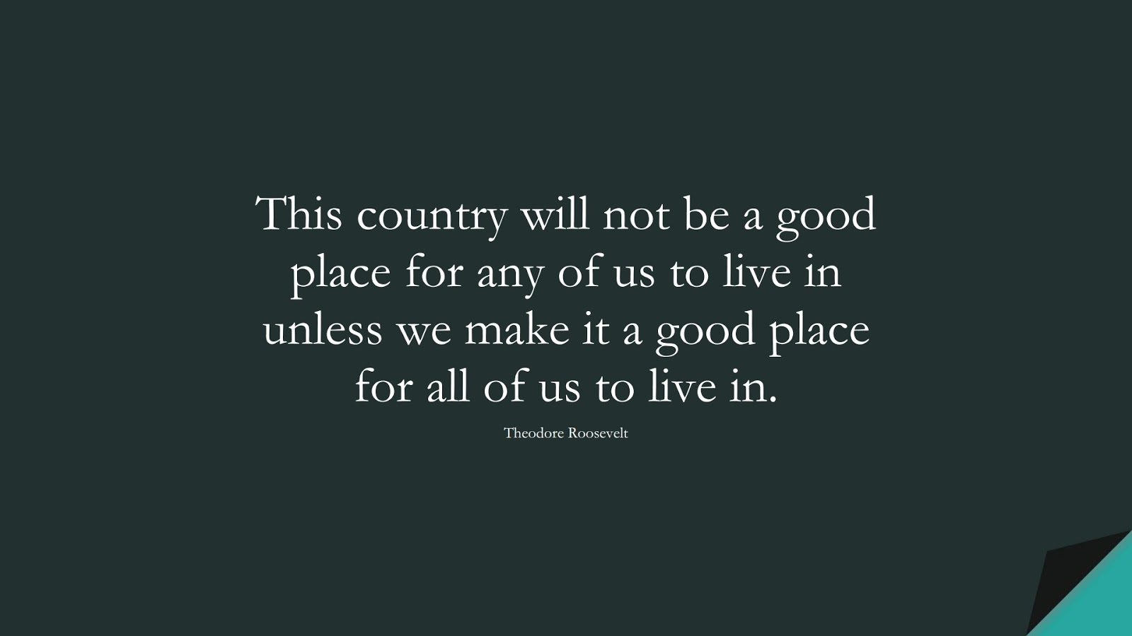 This country will not be a good place for any of us to live in unless we make it a good place for all of us to live in. (Theodore Roosevelt);  #HumanityQuotes