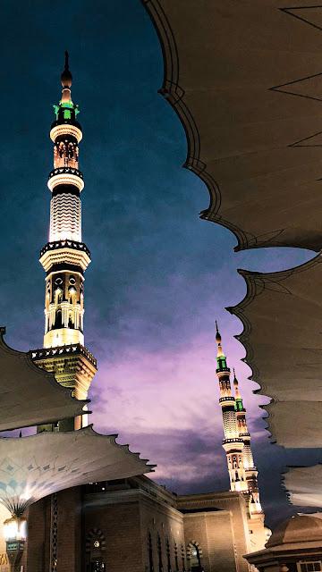 خلفية هاتف تصوير منارة المسجد النبوي عند غروب الشميس صورة جميلة